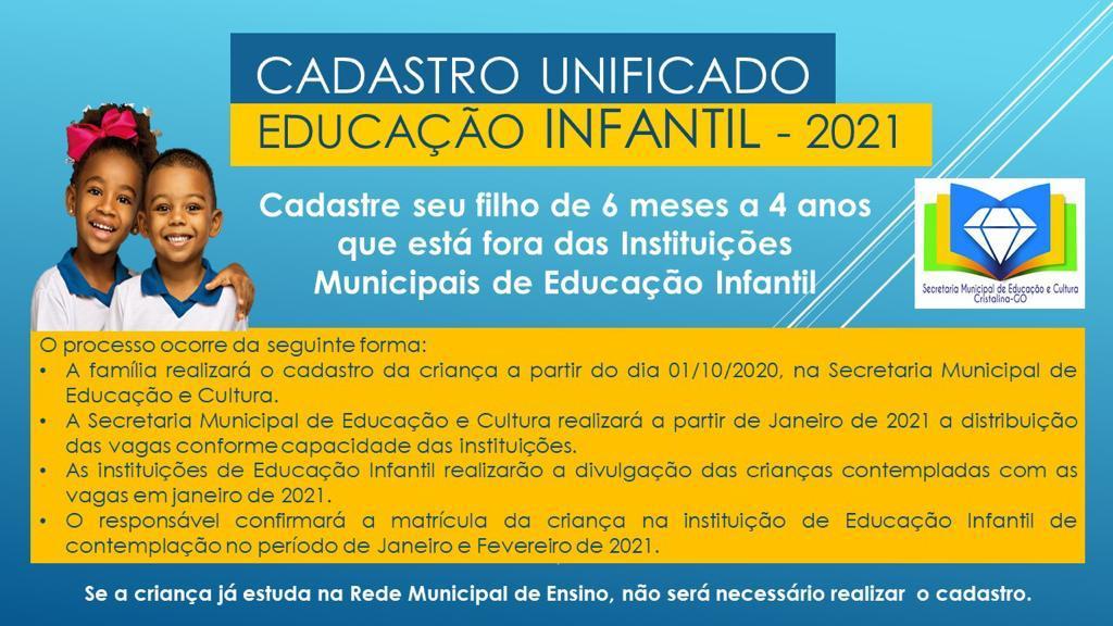 CADASTRO UNIFICADO EDUCAÇÃO INFANTIL – 2021